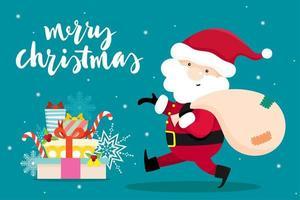 Carte de voeux de Noël avec le père Noël de Noël vecteur