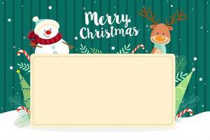Carte de voeux de Noël avec bonhomme de neige