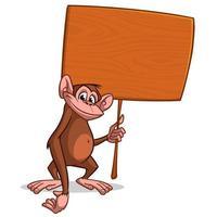 Dessin animé singe chimpanzé avec marteau vecteur