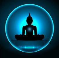 Silhouette de bouddha noir vecteur
