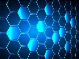 Fond de vecteur pixel hexagone bleu grille en nid d'abeille