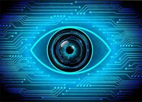 Technologie future du circuit cyber des yeux bleus