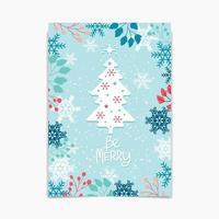 Bonjour conception d'hiver avec arbre et feuillage vecteur