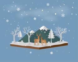 Paysage isométrique avec famille de cerfs dans la neige et la montagne en hiver