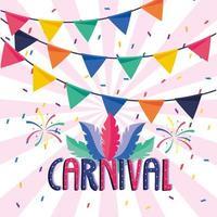 bannière de fête avec des plumes et des feux d'artifice pour le carnaval