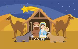 marie et joseph avec jésus à l'intérieur mangeoire et chameaux vecteur
