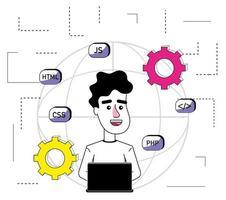 Dessin animé de programmeur de logiciel vecteur