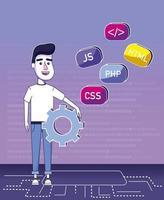 Dessin animé de programmeur de logiciel