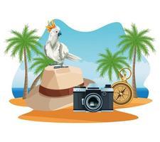 Vacances d'été et dessins animés sur la plage.