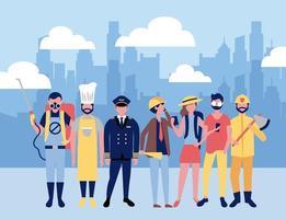 Travailleurs professionnels en ville vecteur