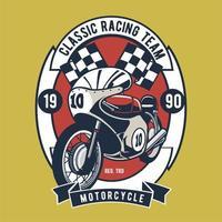 Badge d'équipe de course de moto classique vecteur