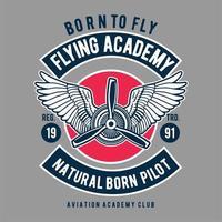 Emblème de pilote né naturel de l'Académie de vol vecteur