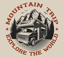 Camping van sur Explorez l'arrière-plan vecteur