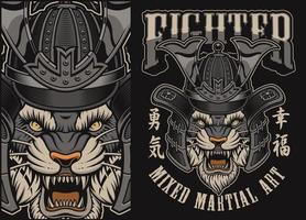 Illustration vectorielle avec tigre dans un casque de samouraï vecteur