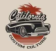 Conception de t-shirt avec une voiture classique vecteur