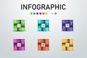 Infographie carrée colorée. vecteur