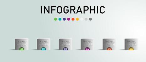 Modèle infographique de cylindre. vecteur