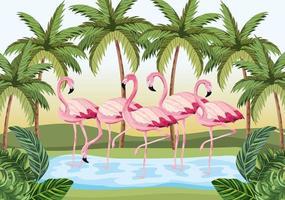 animaux flamants tropicaux avec des palmiers et des feuilles