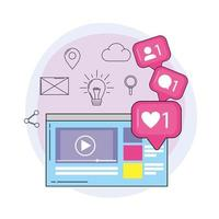 vidéo du site Web et message de discussion multimédia vecteur