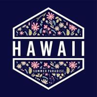 badge floral paradis d'été hawaii vecteur