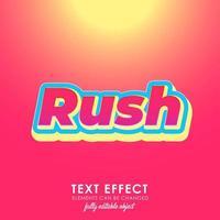effet de texte premium lettre urgente avec un design audacieux et 3d et un joli thème rouge vecteur