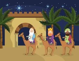 les rois magiciens montent des chameaux avec des palmiers vecteur