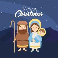 joseph et mery avec jésus à l'épiphanie heureuse vecteur