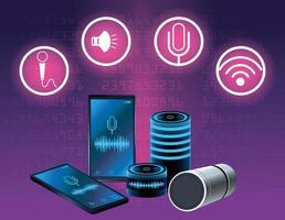Haut-parleur de reconnaissance vocale pour smartphone avec jeu d'icônes rondes vecteur
