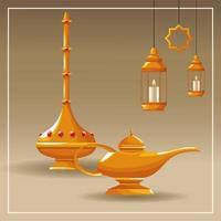 éléments de lampe arabe dans un cadre blanc vecteur