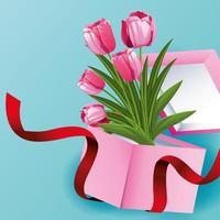 Carte de fleurs de tulipe avec des fleurs dans une boîte cadeau