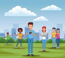 adolescents utilisant des smartphones et des tablettes vecteur