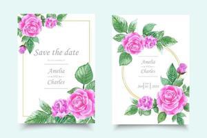 Jeu de carte d'invitation avec fleur aquarelle