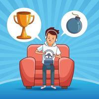 Adolescent avec dessin animé de jeu vidéo vecteur