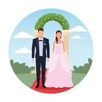 caricature de couple de mariage vecteur