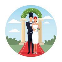 caricature de couple de mariage