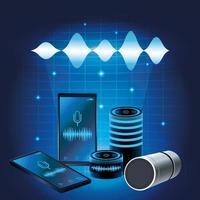 Haut-parleur de reconnaissance vocale pour smartphone vecteur