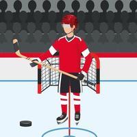 joueur de hockey avec uniforme professionnel et rondelle vecteur