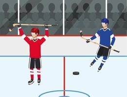 compétition de joueurs de hockey avec uniforme et équipement vecteur
