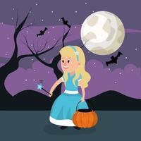 Halloween princesse fille vecteur