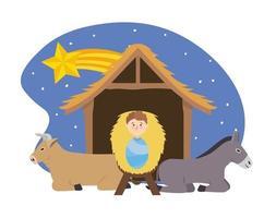 Jésus entre âne et mulet dans la crèche avec étoile vecteur