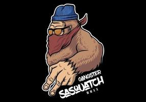 Conception de sasquatch de gangster vecteur