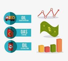 Icônes de conception de l'industrie pétrolière et éléments infographiques vecteur