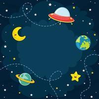 Espace, lune, étoile, illustration vecteur