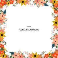 Conception de cadre d'été floral carré