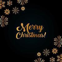 carte de joyeux Noël avec des flocons de neige dorés