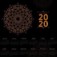 Conception de calendrier mandala 2020 vecteur