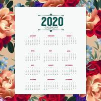 Conception de calendrier floral 2020 vecteur