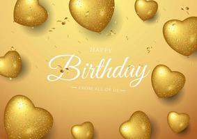 Conception de typographie célébration joyeux anniversaire avec des ballons coeur d'or vecteur