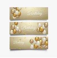 Conception de typographie de célébration de joyeux anniversaire pour ensemble de bannière de voeux