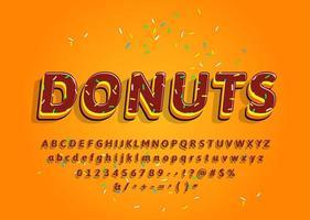 Beignets alphabet décoratif 3d avec garniture colorée vecteur
